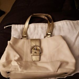 Coach Authentic White Leather Baguette